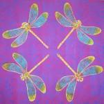 Pink Dragonfly cushions - linoblock print