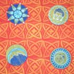 Orange Celestial cushions - linoblock print