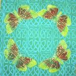 Green Butterfly cushions - linoblock print