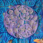 Quilted Celtic Butterfly hanging detail - linoblock print