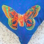 Blue Butterfly cushions detail - linoblock print