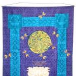 Purple Dragonfly hanging - linoblock print
