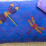Purple Dragonfly pillows - linoblock print