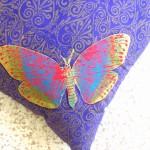 Purple Dragonfly cushions detail - linoblock print