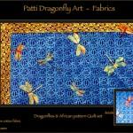 Dragonflies Africa Quilt set - linoblock print