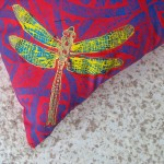 Red Dragonfly cushions detail - linoblock print