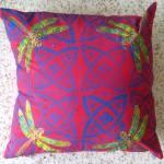 Red Dragonfly cushions - linoblock print