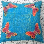Turquoise Butterfly cushions - linoblock print