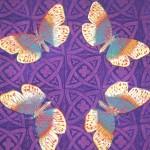 Purple Butterfly cushions - linoblock print