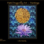 Celtic WaterLily  - acrylic paint on canvas with repeat linoblock print background