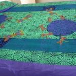 Green/purple Art Nouveau Dragonfly Queensize quilt cover - linoblock print