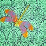 Green/purple Art Nouveau Dragonfly Queensize quilt cover detail - linoblock print