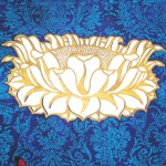 Lotus - linoblock print, silk screen & stencil