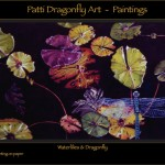 Waterlilies & Dragonfly - gouache on paper