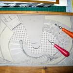 the lino block in progress