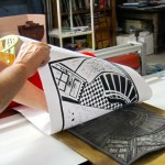 pulling the print from the lino block